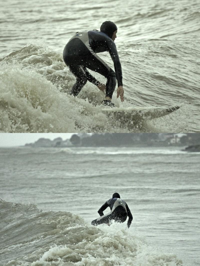 Jordi surfing in the rain