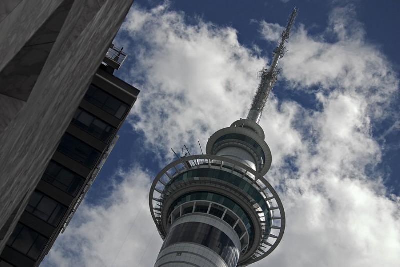Sky tower in the clouds