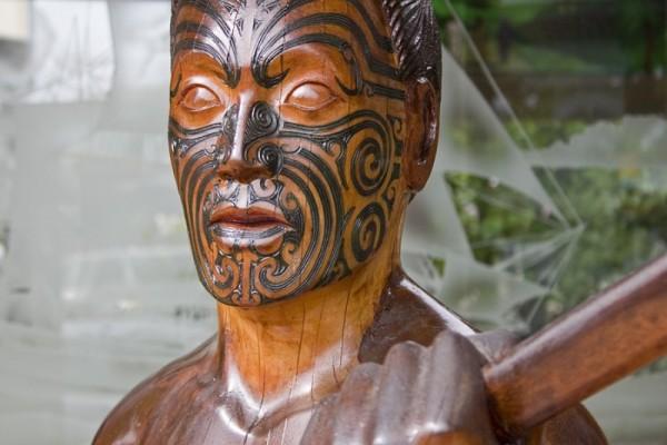 Wooden Maori sculpture in Te Kuiti