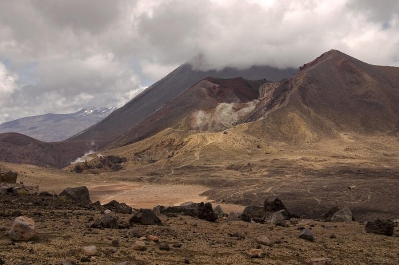 Red Crater with Mount Ngauruhoe and Mount Ruapehu