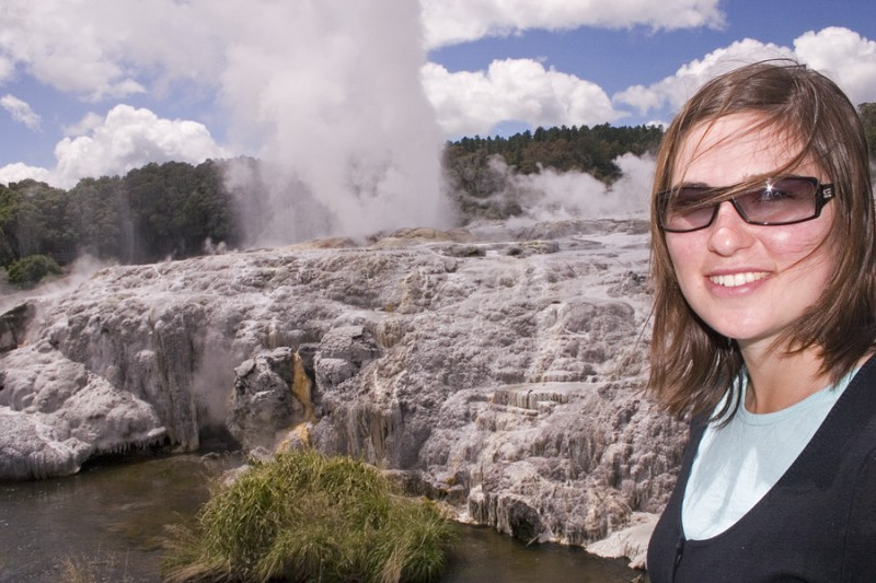 Aurelie by the geyser