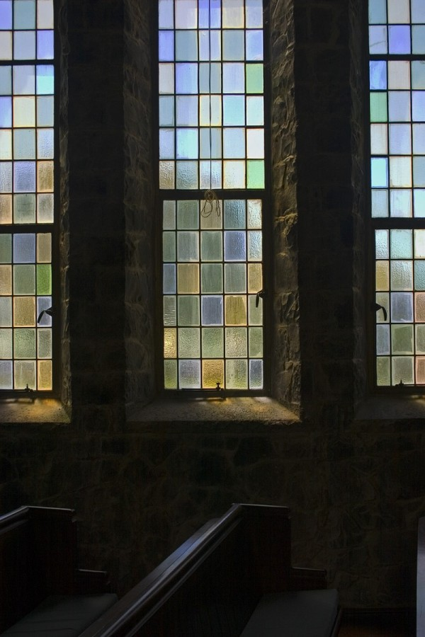 Stone church and stained glass