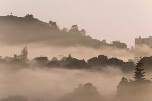 Mount Eden in the fog