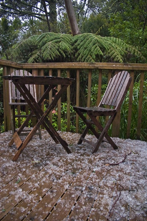 Hail on the deck