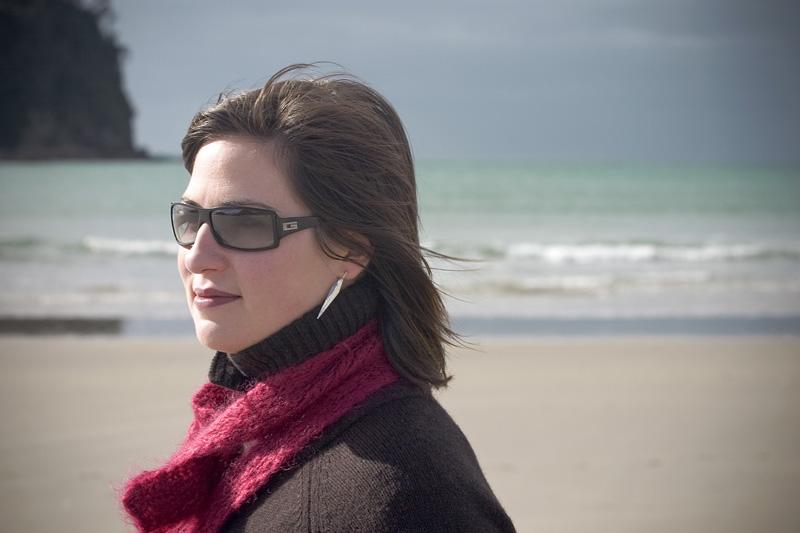 Aurelie along the winter beach