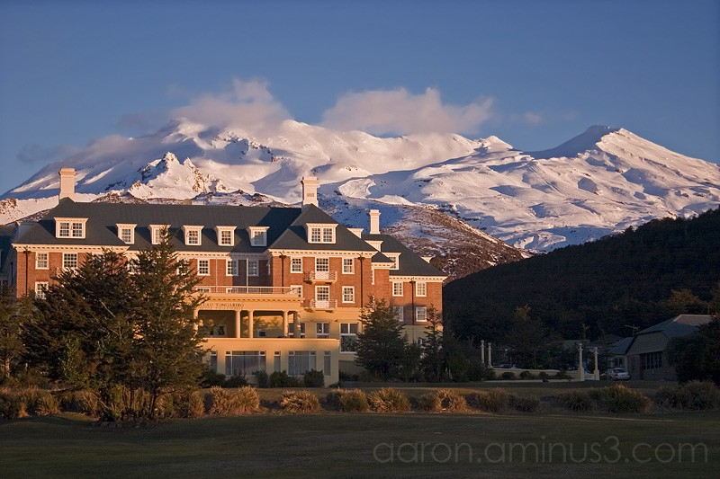 Chateau by volcano (Mount Ruapehu, New Zealand)