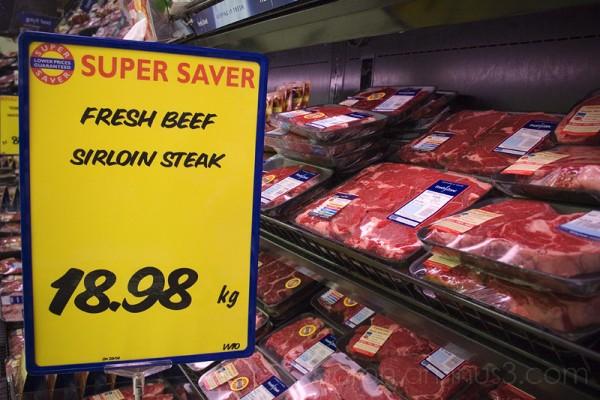 Supermaket beef sirloin steak