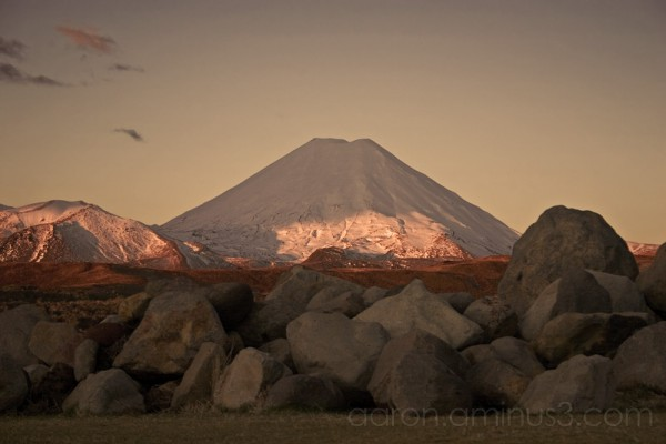 Mount Ngauruhoe in the setting sun