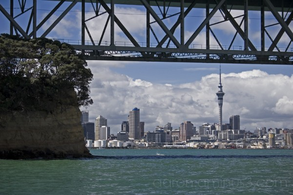 Auckland city under the Harbour Bridge