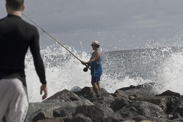 Fishing on the rocks