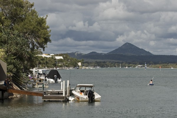 Kayaks and boats in Noosa, Australia