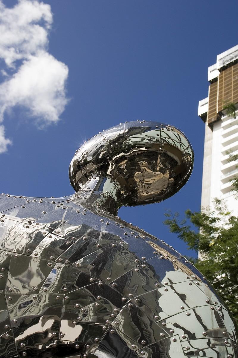 Steel man statue