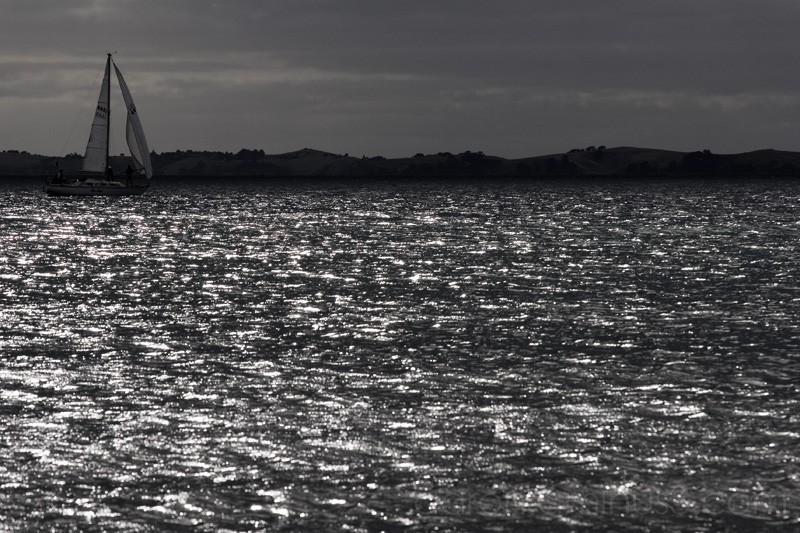 Sailing through the shiny sea