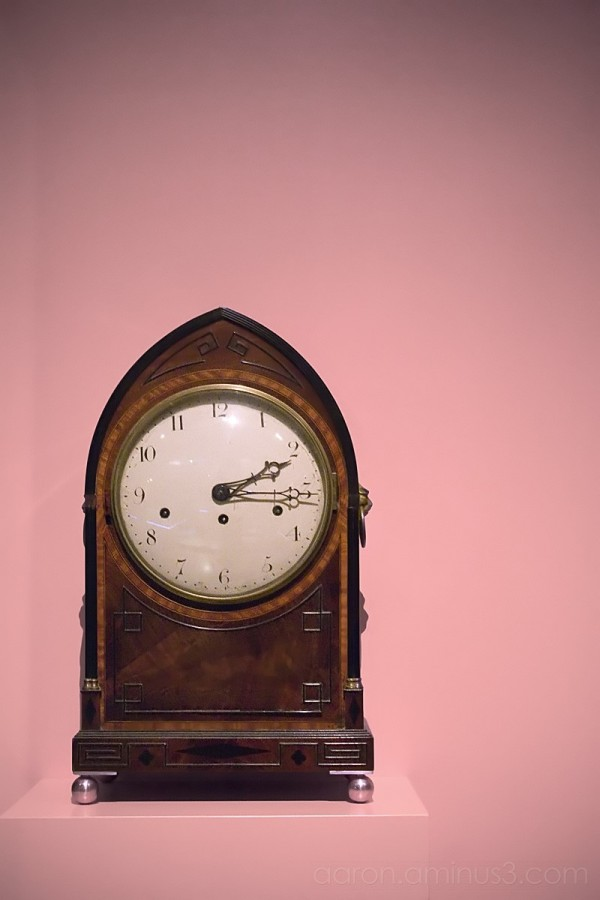 Clock on the pink wall