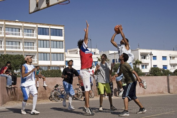 Playing basketball in Essaouira