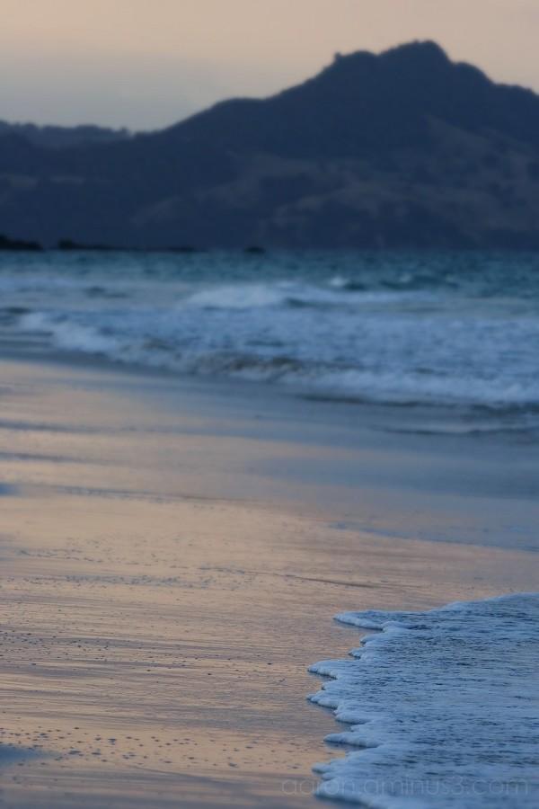 Hahei Beach under the setting sun