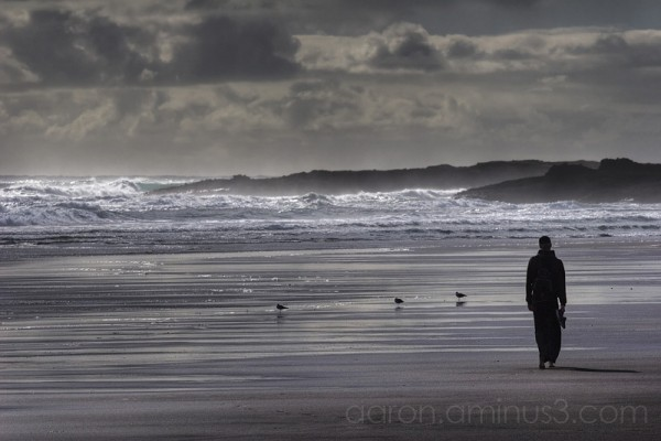 Walking alone on Karekare beach