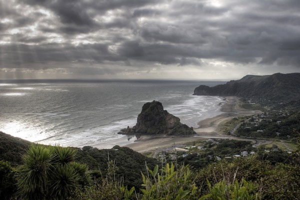 Coulds over Piha Beach, Autumn