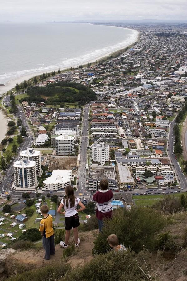 Kids overlooking Mount Maunganui