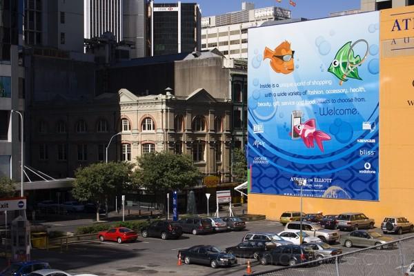 Atrium on Elliot billboard, downtown Auckland