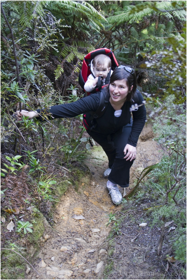 Hiking with backpack baby