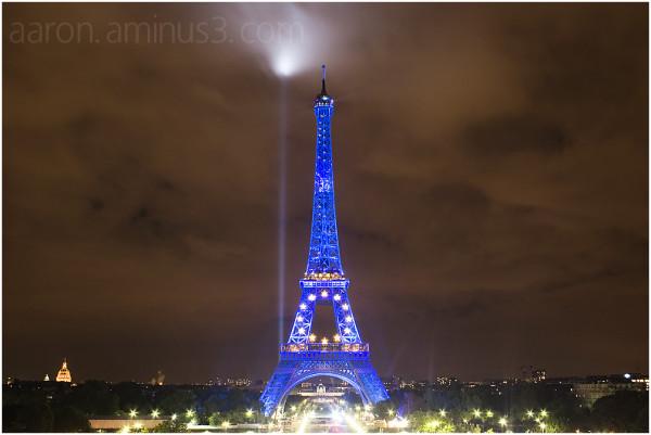 Eiffel Tower with European Union stars