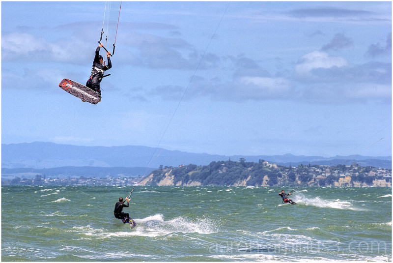 Kite surfers on Takapuna beach