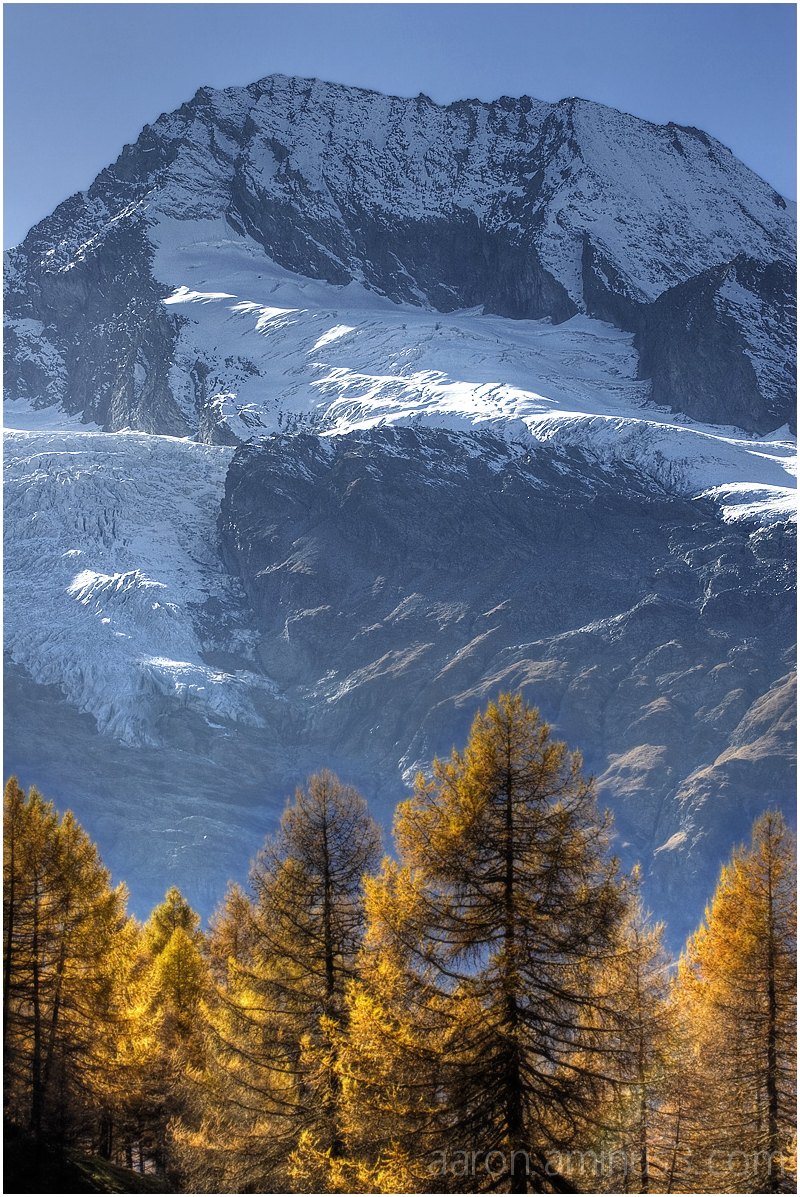 Glacier behind the autumn trees