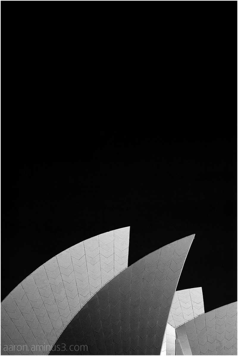 Sydney Opera House in black and white