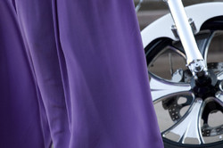 Purple dress and the bike