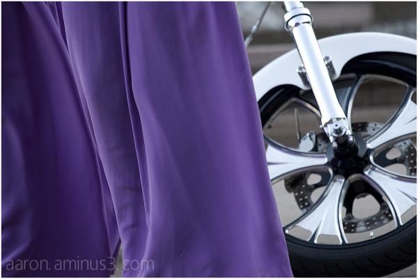 Purple dress and the bike