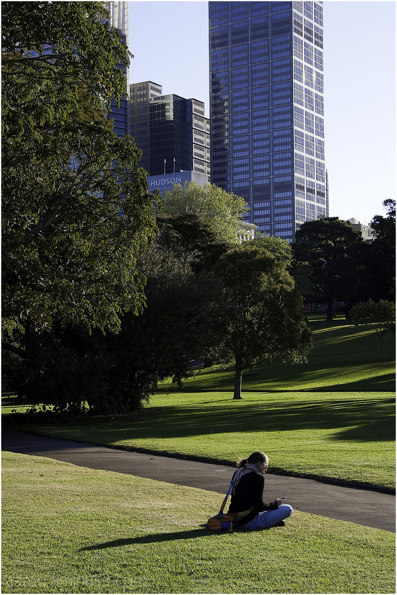 Sitting alone in the park, Sydney