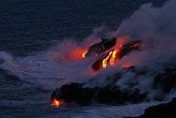 Lava Flowing Kilauea Volcano Hawaii