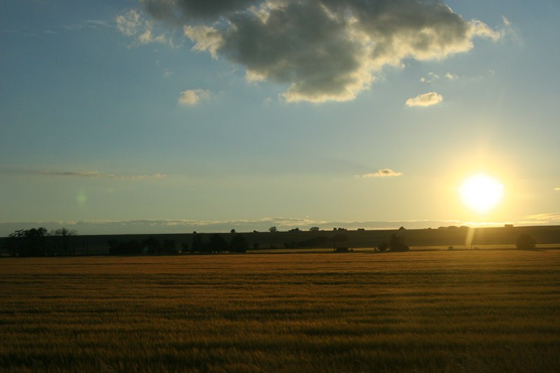 Slovakian sundown over farmland
