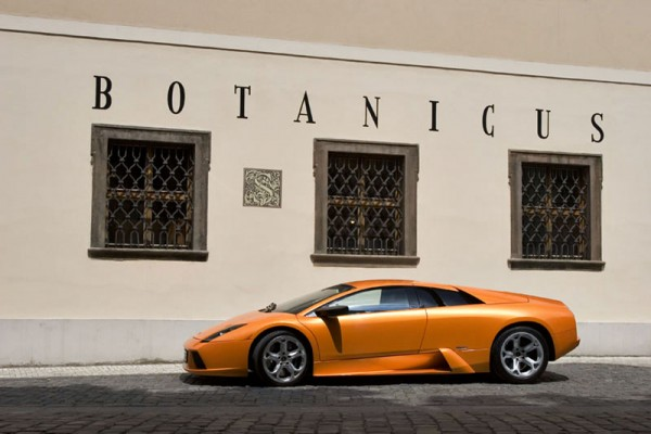 orange lamborghini prague