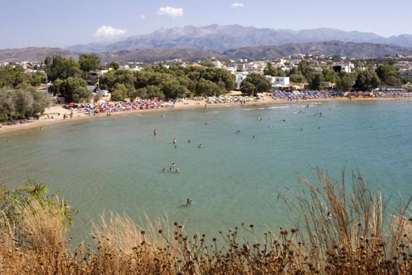 Crete Agii Apostoli Beach Sea Mountains Sky