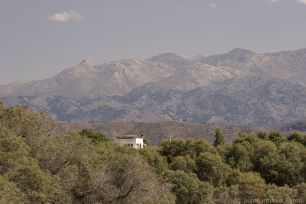 Greek mountains sky house