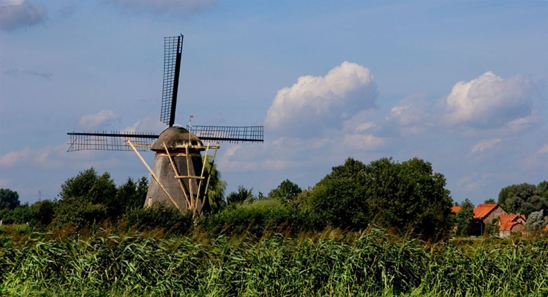 Holland Netherlands Windmill houses corn