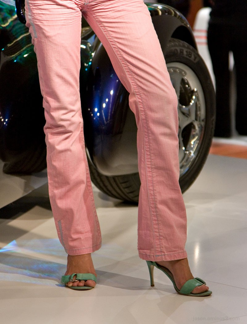 Blue Car Pink Pants Legs Feet Heels
