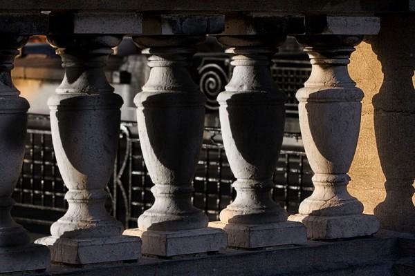stone columns sunlight