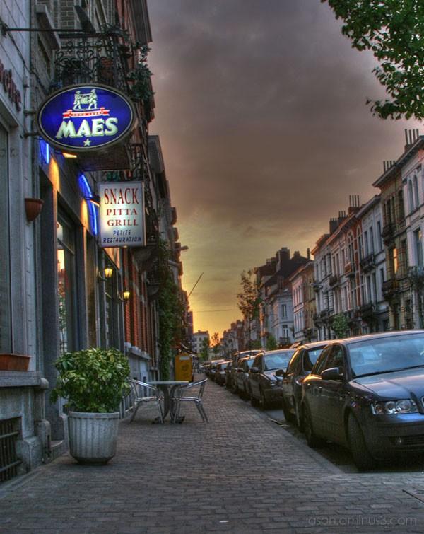 Brussels city street sundown HDR