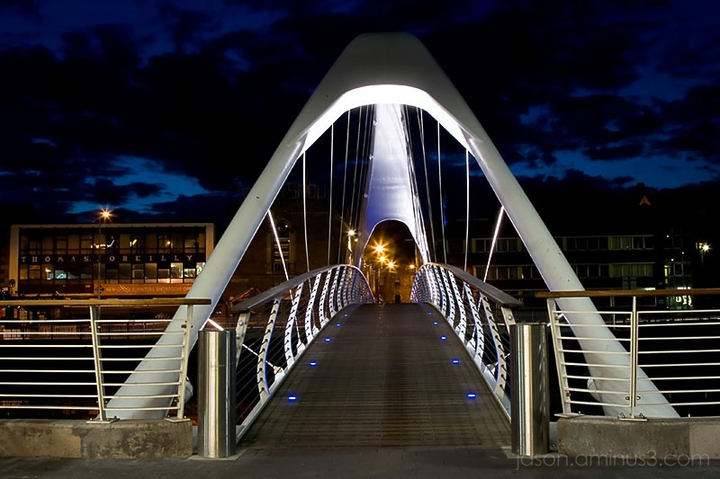 Drogheda Ireland Footbridge and Blue Night Sky