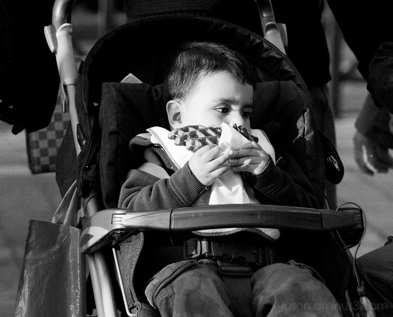 baby eating belgian waffle
