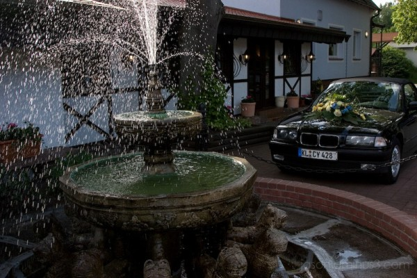 Wedding BMW and Fountain