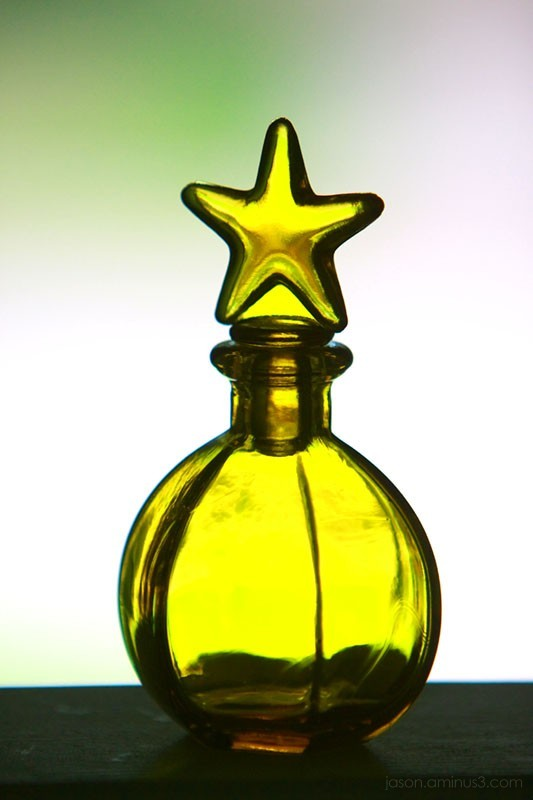 yellow glass star bottle