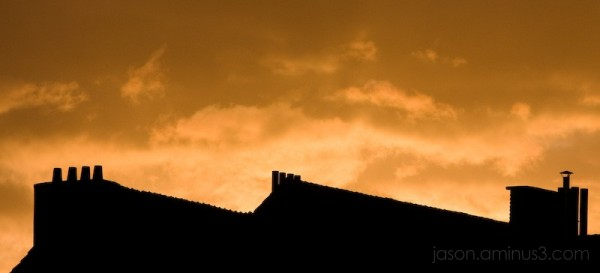 Belgian Rooftops at Sunset