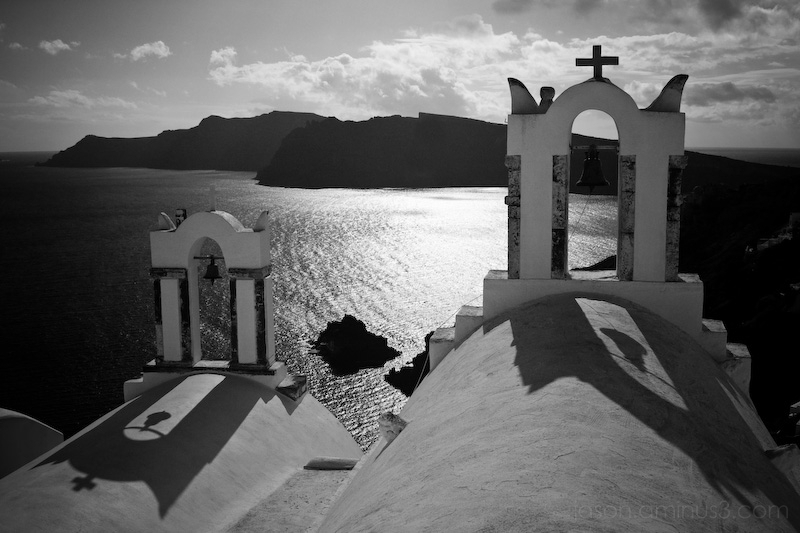 Santorini church shadow