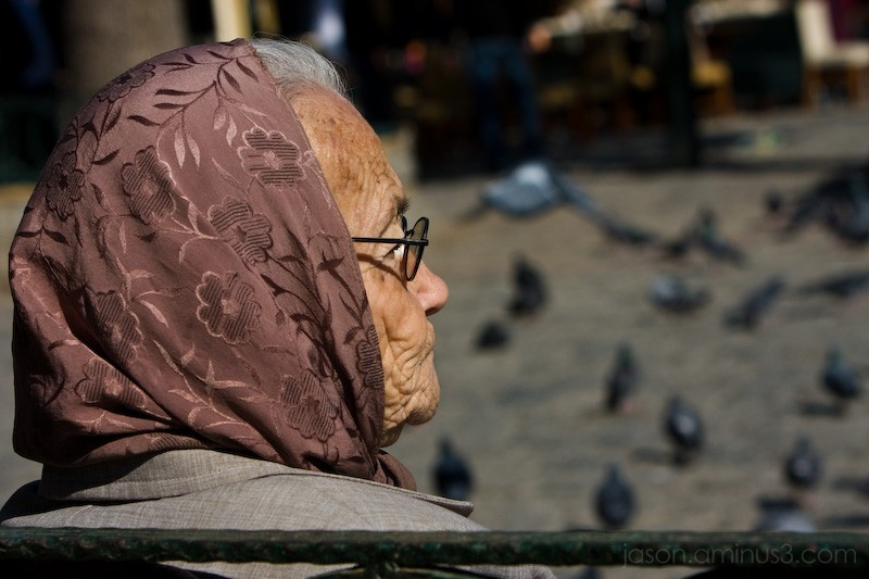 Old Turkish Woman and Pigeons