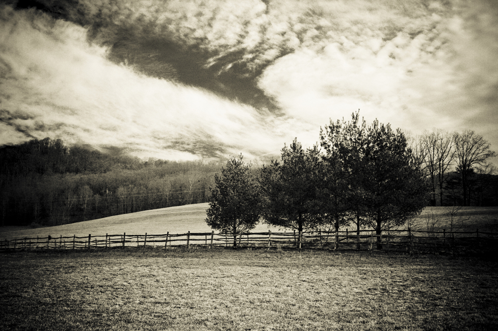 farm fence in black and white