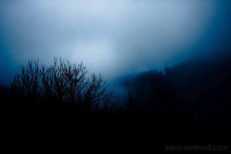 foggy blue mountain
